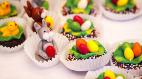Easter sweets chicken cute lace bunny colorful easteregg Stock Image