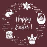 Easter cake, basket, eggs, rabbit, flowers, angel. Easter symbols. Easter cake, basket, eggs, rabbit, flowers, angel Royalty Free Stock Photos