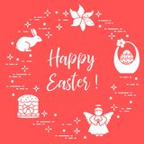 Easter cake, basket, eggs, rabbit, flowers, angel. Easter symbols. Easter cake, basket, eggs, rabbit, flowers, angel Royalty Free Stock Image