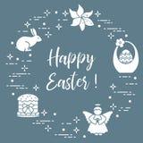 Easter cake, basket, eggs, rabbit, flowers, angel. Easter symbols. Easter cake, basket, eggs, rabbit, flowers, angel Stock Image