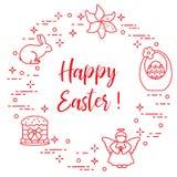 Easter cake, basket, eggs, rabbit, flowers, angel. Easter symbols. Easter cake, basket, eggs, rabbit, flowers, angel Royalty Free Stock Photo