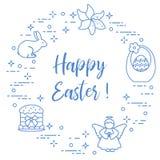 Easter cake, basket, eggs, rabbit, flowers, angel. Easter symbols. Easter cake, basket, eggs, rabbit, flowers, angel Stock Images