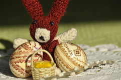 Easter. Symbols of Christmas. Rabbit, chicken and eggs. Willow twig. Royalty Free Stock Photography