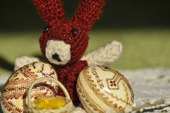 Easter. Symbols of Christmas. Rabbit, chicken and eggs. Willow twig Royalty Free Stock Images