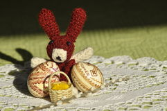 Easter. Symbols of Christmas. Rabbit, chicken and eggs. Willow twig Stock Photo