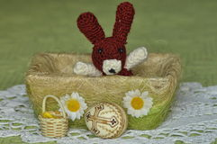 Easter. Symbols of Christmas. Rabbit, chicken and eggs. Willow twig Royalty Free Stock Photo