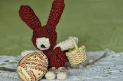 Easter. Symbols of Christmas. Rabbit, chicken and eggs. Willow twig Stock Photography