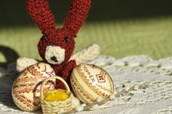 Easter. Symbols of Christmas. Rabbit, chicken and eggs. Willow twig Royalty Free Stock Photography