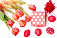 Easter symbols concept. Bouquet of spring tulips for holiday. Happy easter egg. holiday bunny and eggs, spring flower backround Easter symbols concept. Bouquet Royalty Free Stock Image