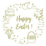 Easter cake, willow, lily,candle,dove,basket,eggs. Easter symbols. Easter cake, willow branches, basket, eggs, lily, candle, dove Royalty Free Stock Photos