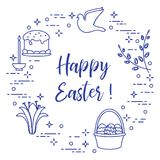 Easter cake, willow, lily,candle,dove,basket,eggs. Easter symbols. Easter cake, willow branches, basket, eggs, lily, candle, dove Royalty Free Stock Images