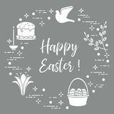 Easter cake, willow, lily,candle,dove,basket,eggs. Easter symbols. Easter cake, willow branches, basket, eggs, lily, candle, dove Stock Photo