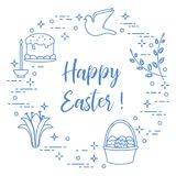 Easter cake, willow, lily,candle,dove,basket,eggs. Easter symbols. Easter cake, willow branches, basket, eggs, lily, candle, dove Stock Photography