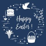 Easter cake, willow, lily,candle,dove,basket,eggs. Easter symbols. Easter cake, willow branches, basket, eggs, lily, candle, dove Royalty Free Stock Photography