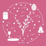 Easter cake, willow branches, bell, bowl, egg. Easter symbols. Easter cake, willow branches, bell, bowl, bread, egg Stock Photography