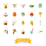 Easter Symbols Flat Style Vector Icons. Easter Holidays Flat Design Icons Collection on white background Royalty Free Stock Image
