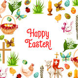 Easter symbols poster for greeting card design Royalty Free Stock Photo