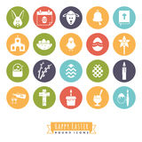 Easter Symbols Round Color Icon Set. Collection of 20 Happy Easter Icons in color circles Stock Image