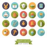Easter Symbols Round Flat Design Icon Set. Collection of 20 Happy Easter Flat Design Icons in Circles Royalty Free Stock Photo
