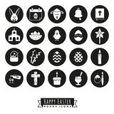 Easter Symbols Round Icon Set. Collection of 20 Happy Easter Icons, negative in black circles Royalty Free Stock Photos