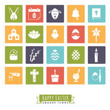 Easter Symbols Square Icon Set. Collection of 20 Happy Easter Icons in color squares Royalty Free Stock Photos