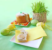 Easter table. Holiday decoration of the Easter table with a thin captain by a young rabbit and card for a guest Royalty Free Stock Photography