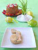 Easter table. Holiday decoration of the Easter table with a thin captain by a young rabbit for a guest Royalty Free Stock Photography