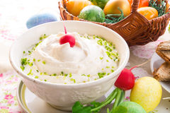 Easter table. Fresh and tasty quark Stock Photo