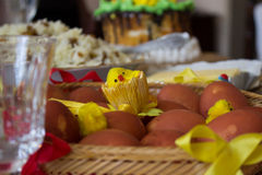 Easter table. Easter celebrate ready table setting Royalty Free Stock Photography
