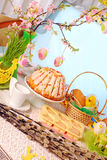 Easter table with cakes and basket Royalty Free Stock Photos