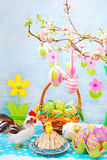 Easter table with colorful eggs decoration Royalty Free Stock Image