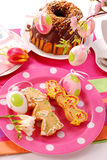 Easter table with cookies and ring cake Stock Photos