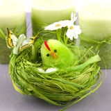 Easter table decoration  with chicken Royalty Free Stock Photography