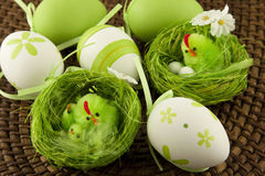 Easter table decoration  with chicken and eggs Royalty Free Stock Image