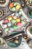 Easter table decoration colored eggs vintage Royalty Free Stock Photo