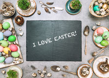 Easter table decoration colored Holidays background Stock Image