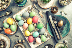 Easter table decoration colorful eggs vintage Stock Image