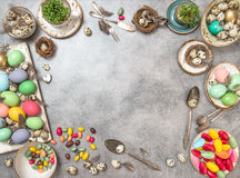 Easter table decoration with copy space Royalty Free Stock Photo