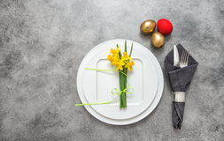 Easter table decoration cutlery, eggs flowers Royalty Free Stock Photography