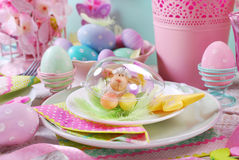 Easter table decoration with eggs and flowers in pastel colors Royalty Free Stock Images