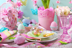 Easter table decoration with eggs and flowers in pastel colors Royalty Free Stock Photo