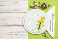 Easter table decoration eggs and flowers Stock Photography