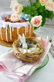 Easter table decoration. Easter decoration with eggs,rabbit and flowers royalty free stock photos