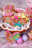 Easter table decoration with gingerbread cookies Royalty Free Stock Photo