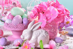 Easter table decoration in pastel colors Stock Photos