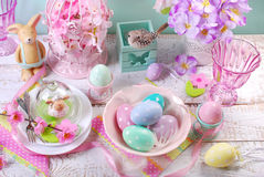 Easter table decoration in pastel colors Stock Photo