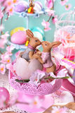 Easter table decoration in pastel colors Royalty Free Stock Images