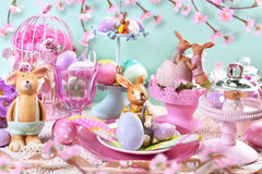 Easter table decoration in pastel colors Royalty Free Stock Photos