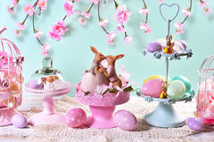 Easter table decoration in pastel colors Royalty Free Stock Photography