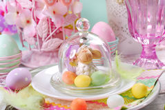 Easter table decoration in pastel colors Royalty Free Stock Image